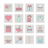 Nyfödd rengöringsduksymbolsuppsättning royaltyfri illustrationer