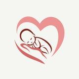Nyfött behandla som ett barn att ligga på handsymbolet stock illustrationer