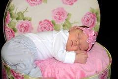 Nyfött behandla som ett barn att sova i rosen blommad hattask arkivbild
