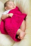 Nyfött behandla som ett barn att sova i säng Arkivfoto