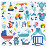 Nyfött behandla som ett barn-boyl objekt ställer in samlingen behandla som ett barn den nya duschen för det födda pojkekortet Arkivfoto