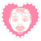 Nyfött behandla som ett barn flickan med fredsmäklaren Stående i en ram i form av en hjärta Stock Illustrationer