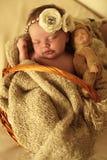 Nyfött behandla som ett barn flickan som sover under den hemtrevliga filten i korg Royaltyfria Foton