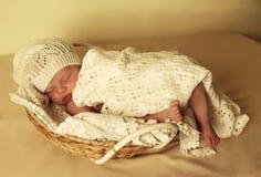 Nyfött behandla som ett barn flickan som sover under den hemtrevliga filten i korg Arkivfoton