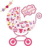 Nyfött behandla som ett barn flickasymboler i form av vagnen Fotografering för Bildbyråer