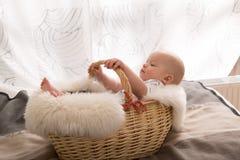 Nyfött behandla som ett barn i korgen Royaltyfri Fotografi