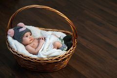 Nyfött behandla som ett barn i lockkorg på golv Arkivbilder