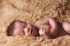 Nyfött behandla som ett barn peacefully att sova Arkivbild
