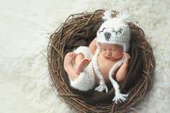 Nyfött behandla som ett barn pojken som bär en vita Owl Hat Arkivbild