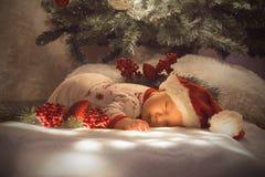 Nyfött behandla som ett barn pojken som sover under julgranen nära lott av garneringar Bärande SantaÂs hatt arkivbild