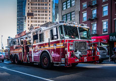 NYFD New York Fire Departmant. New York Fire Department car on the road on the way to use, NYF Royalty Free Stock Image