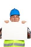 nyfiken arbetare för konstruktion Arkivfoto