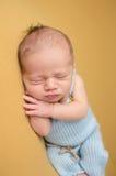 Nyfött behandla som ett barn att sova på filten Arkivfoto