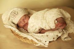 Nyfött behandla som ett barn flickan som sover under den hemtrevliga filten i korg Royaltyfria Bilder