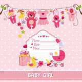 Nyfött behandla som ett barn mallen för inbjudan för flickakortduschen Arkivfoton