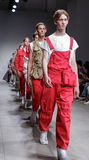 NYFW: Men`s - Feng Chen Wang SS18 Collection. New York, NY, USA - July 11, 2017: Models walk the runway for Feng Chen Wang Spring/Summer 2018 Runway Show at Royalty Free Stock Photo