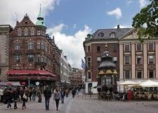 Nygade街道(Stroget),哥本哈根 免版税图库摄影