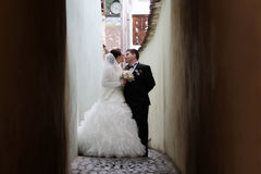 Nygift personpar omkring som ska kyssas Arkivfoto