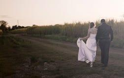 Nygift personpar på solnedgången Royaltyfri Bild