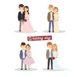 Nygift personuppsättning Gifta sig att gifta sig, par Arkivfoton