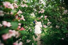 Nygifta personer går i parkera på bröllopdagen Bruden och brudgummen Enjoying på bröllopdagen arkivfoto