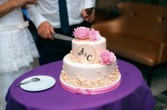 Nygifta personer klippte en härlig bröllopstårta Arkivbild