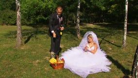 Nygifta personer kopplar av i natur stock video