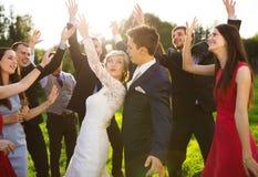 Nygifta personer med gästen på deras trädgårds- parti royaltyfri foto