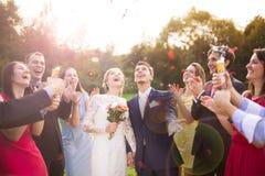 Nygifta personer med gästen på deras trädgårds- parti fotografering för bildbyråer