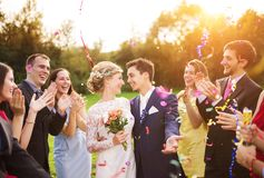 Nygifta personer med gästen på deras trädgårds- parti royaltyfria foton