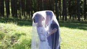 Nygifta personer omfamnar under brudar skyler stock video