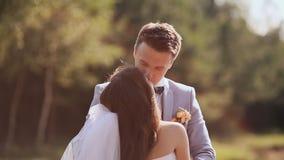 Nygifta personer på deras bröllopdag under den gröna naturen De är tillsammans i armarna av förälskelse och mjukhet kyss Lyckligt arkivfilmer
