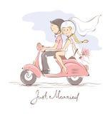 Nygifta personer på en sparkcykel stock illustrationer