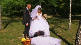 Nygifta personer på picknicken lager videofilmer