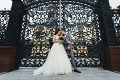 Nygifta personer som framme står av portarna Fotografering för Bildbyråer