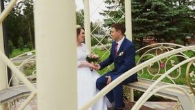 Nygifta personer som sitter i gazeboen i, parkerar stock video