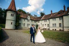 Nygifta personerna går i parkera på bröllopdagen Bruden och brudgummen Enjoying på bröllopdagen soligt väder Arkivbild