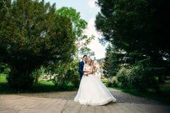 Nygifta personerna går i parkera på bröllopdagen Bruden och brudgummen Enjoying på bröllopdagen soligt väder Fotografering för Bildbyråer