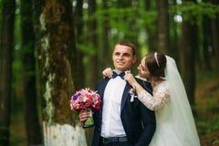Nygifta personerna går i parkera på bröllopdagen Bruden och brudgummen Enjoying på bröllopdagen soligt väder arkivfoto