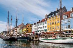 Nyhaven海滨哥本哈根,丹麦 免版税库存图片