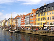 Nyhaven in Kopenhagen stock afbeelding