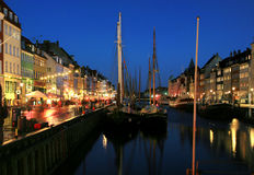 Nyhaven at night in Copenhagen Royalty Free Stock Image