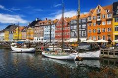 Nyhavn区在哥本哈根 丹麦 图库摄影