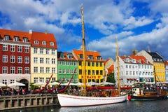 Nyhavn在哥本哈根 库存照片
