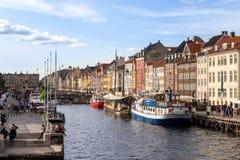 Nyhavn港口在哥本哈根,丹麦 库存图片