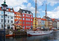 Nyhavn运河在哥本哈根 库存照片