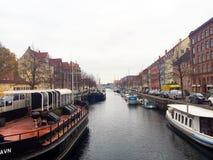 Nyhavn η προκυμαία στην Κοπεγχάγη, Δανία Στοκ Φωτογραφίες