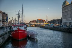 Nyhavn boats in Copenhagen Harbor. Denmark royalty free stock photo