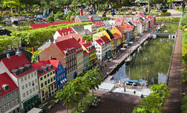 Nyhavn bouwde Lego in Legoland, Billund, Denemarken in Royalty-vrije Stock Foto