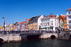 Nyhavn bridge waterfront and canal district in Copenhagen Royalty Free Stock Photo